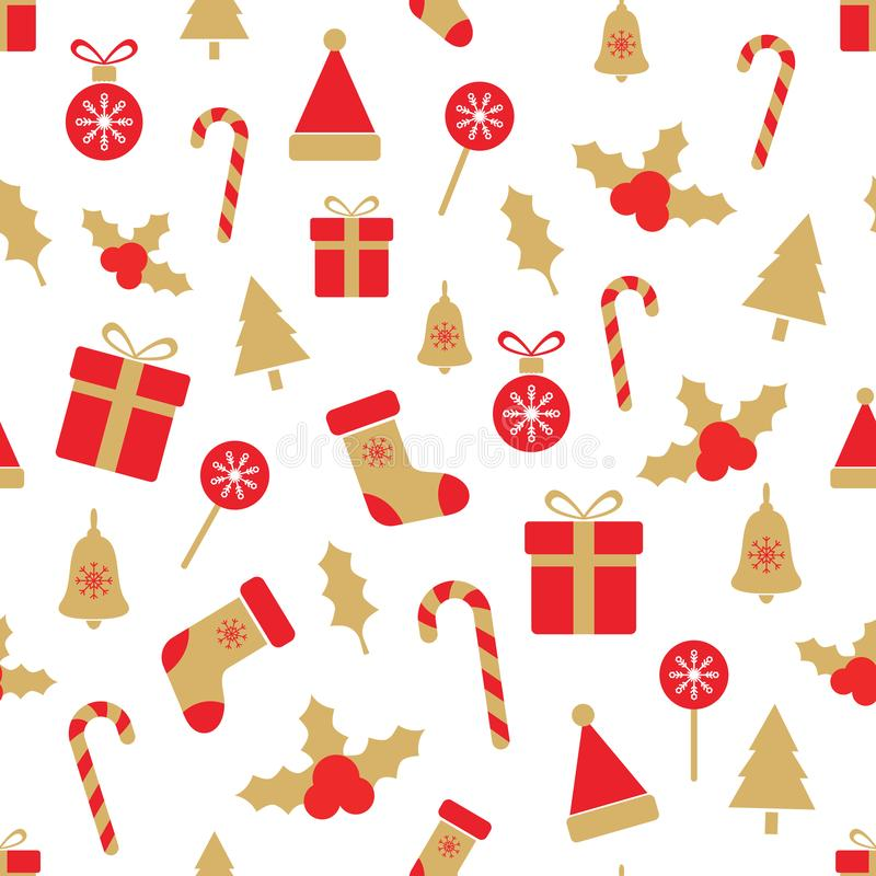 Modelo inconsútil de la Navidad con las bayas del acebo, bolas, cajas de regalo, bastón de caramelo, campana, árbol, copos de nie stock de ilustración