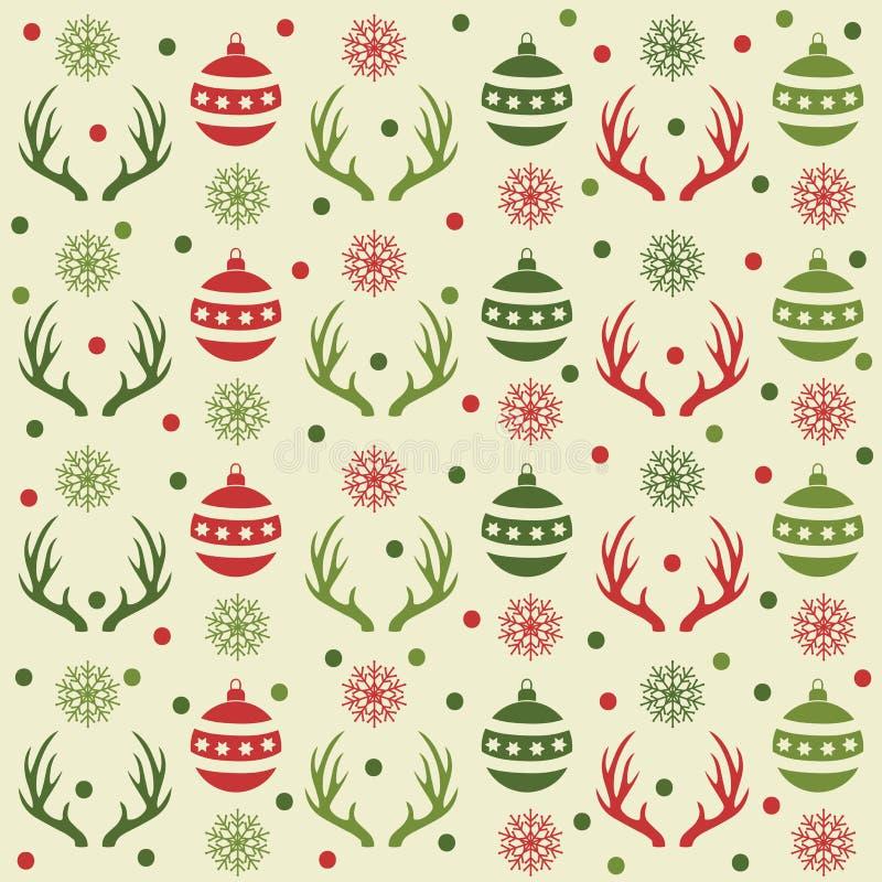 Modelo inconsútil de la Navidad con las bolas, los cuernos del reno y la nieve libre illustration