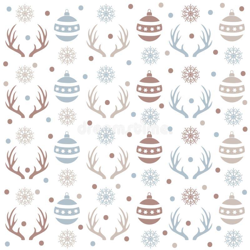 Modelo inconsútil de la Navidad con las bolas, los cuernos del reno y la nieve stock de ilustración