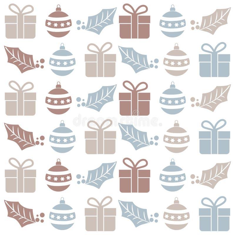 Modelo inconsútil de la Navidad con las bolas, los regalos y el muérdago stock de ilustración