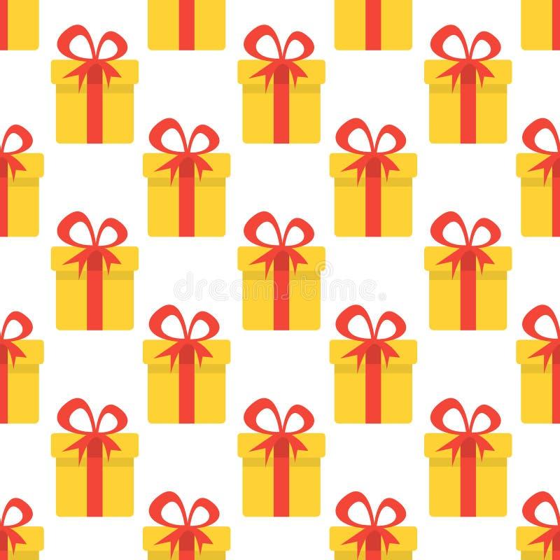 Modelo inconsútil de la Navidad con las cajas de regalo amarillas La Navidad Ilustración del vector libre illustration