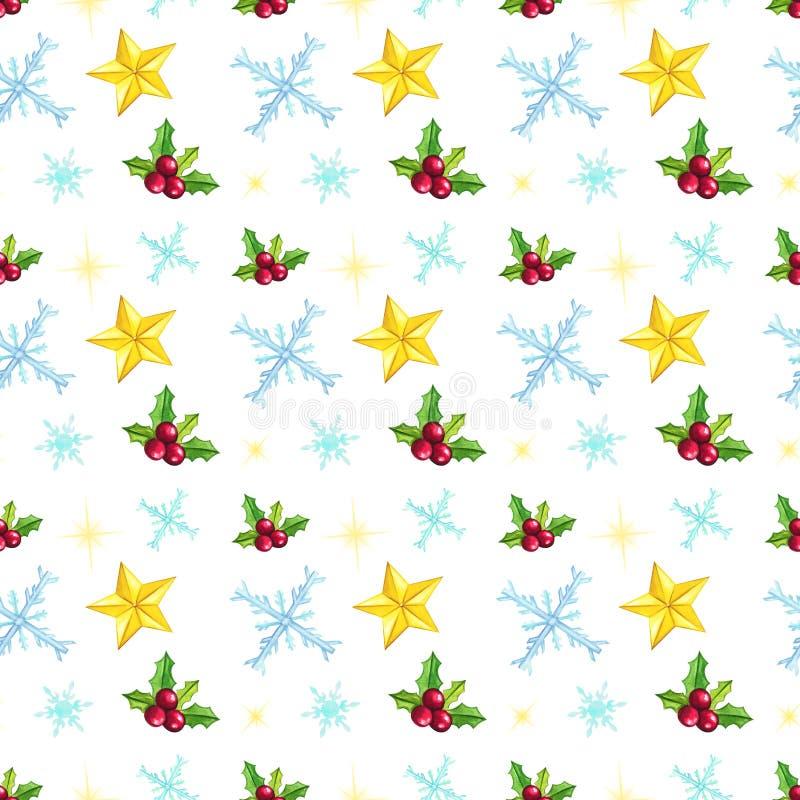 Modelo inconsútil de la Navidad con las estrellas, copos de nieve, muérdago en el fondo blanco ilustración del vector