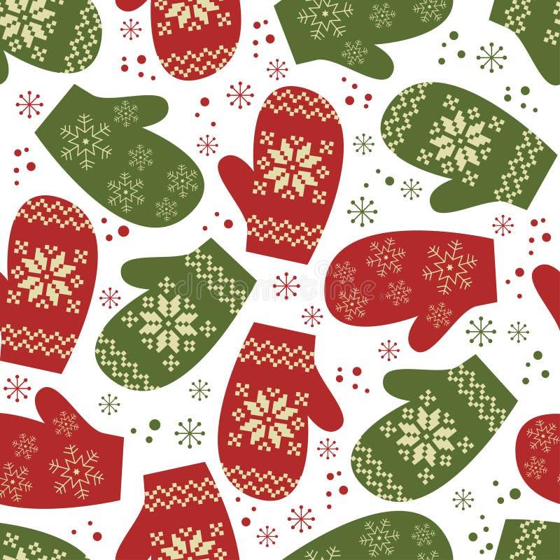 Modelo inconsútil de la Navidad con las manoplas del invierno stock de ilustración