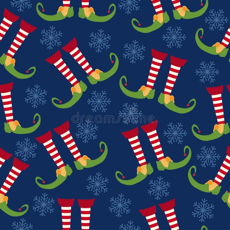 Modelo inconsútil de la Navidad con las piernas del duende ilustración del vector