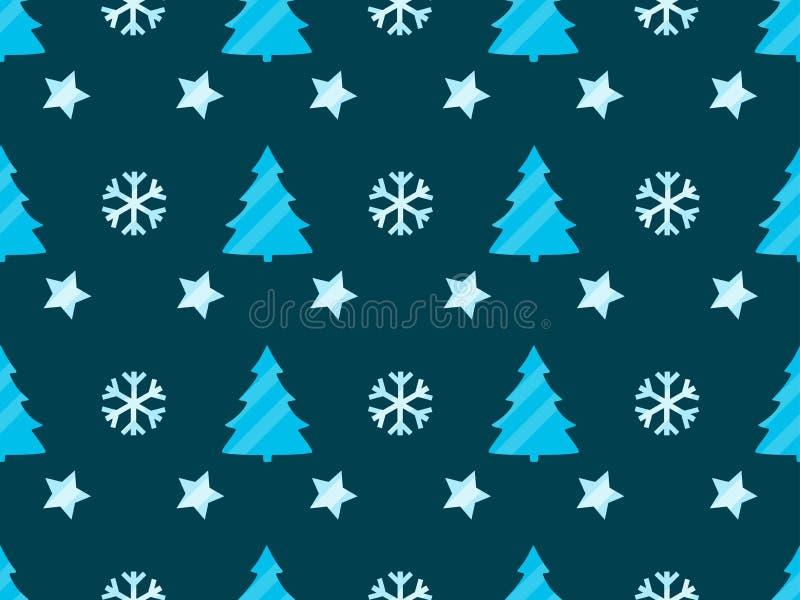 Modelo inconsútil de la Navidad con los árboles de navidad, los copos de nieve y las estrellas libre illustration