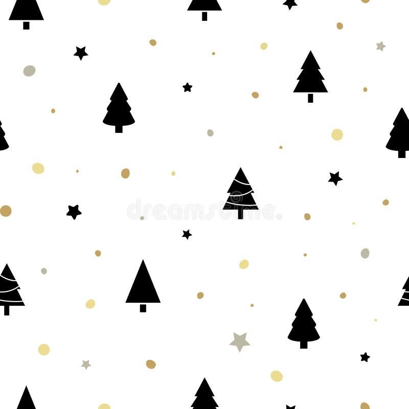 Modelo inconsútil de la Navidad con los árboles de navidad negros, la nieve de oro y las estrellas Diseño de las vacaciones de in stock de ilustración