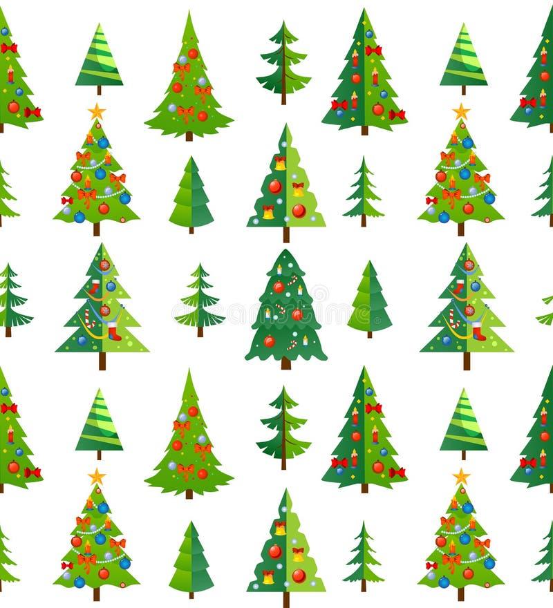 Modelo inconsútil de la Navidad con los árboles y las decoraciones azules carro libre illustration