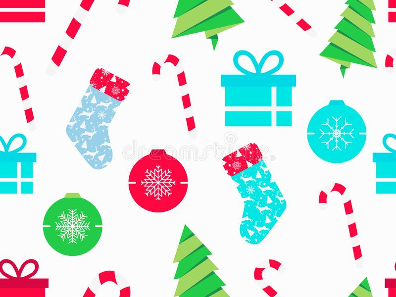 Modelo inconsútil de la Navidad con los bastones de caramelo, los calcetines de la Navidad, las cajas de regalo y el árbol de abe stock de ilustración