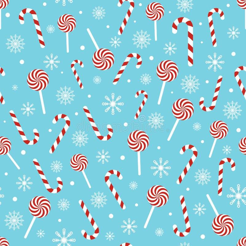 Modelo inconsútil de la Navidad con los bastones de caramelo, piruletas, copos de nieve, bola de la nieve en fondo azul Diseño pa ilustración del vector