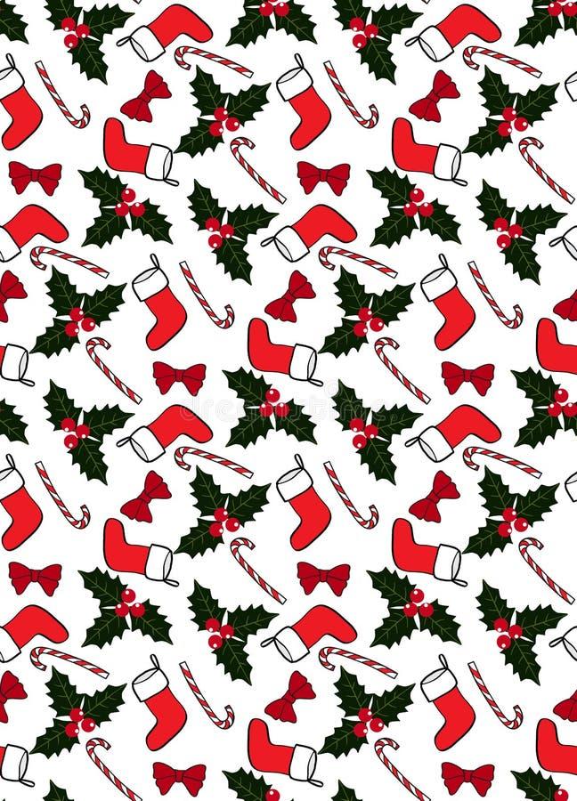 Modelo inconsútil de la Navidad con los calcetines, los caramelos, el acebo, y los arcos stock de ilustración
