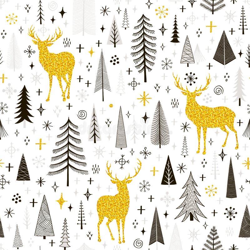 Modelo inconsútil de la Navidad con los ciervos, los copos de nieve y la picea stock de ilustración