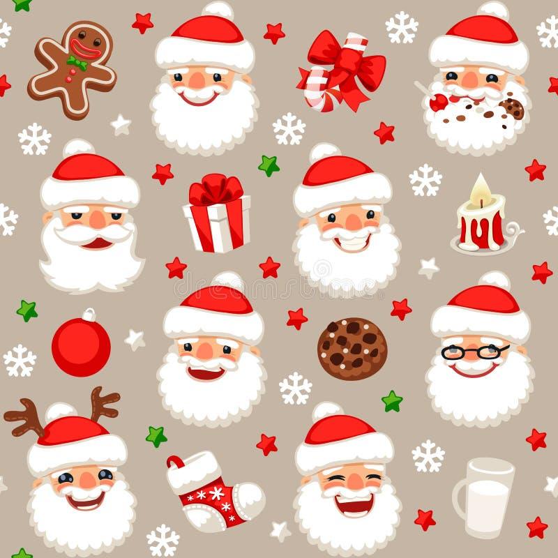 Modelo inconsútil de la Navidad con Papá Noel stock de ilustración