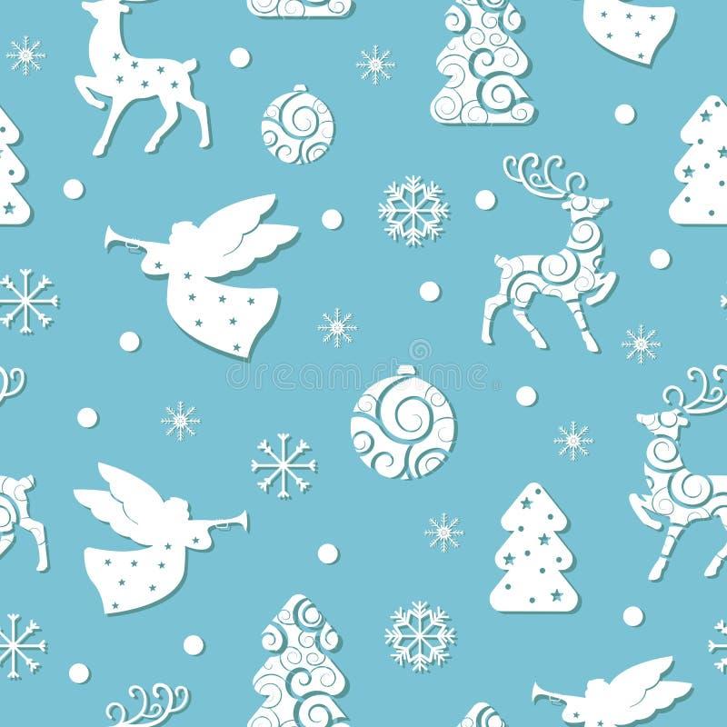 Modelo inconsútil de la Navidad con símbolos del día de fiesta libre illustration