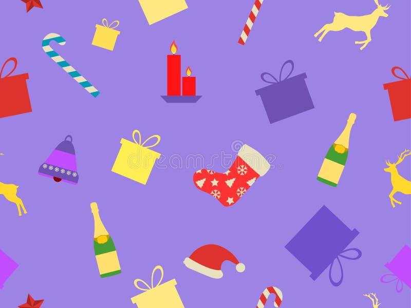 Modelo inconsútil de la Navidad con símbolos del día de fiesta Cajas de regalo con los caramelos, las campanas y un sombrero de S libre illustration