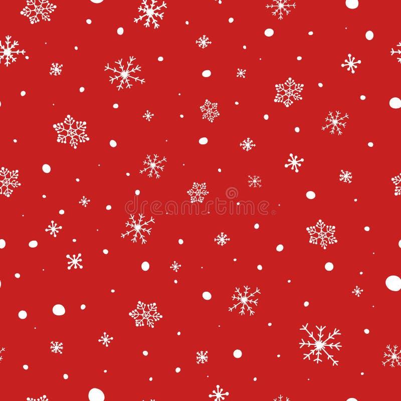 Modelo inconsútil de la Navidad Copos de nieve blancos en fondo rojo Modelo del vector de la nieve que cae Textura de las vacacio stock de ilustración