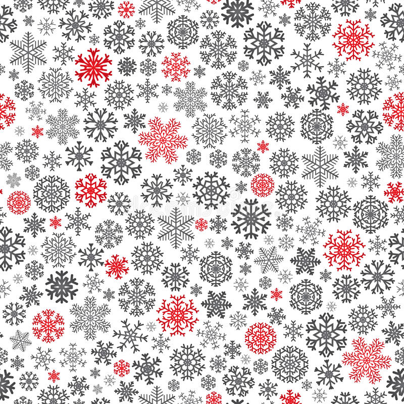 Modelo inconsútil de la Navidad de los copos de nieve stock de ilustración