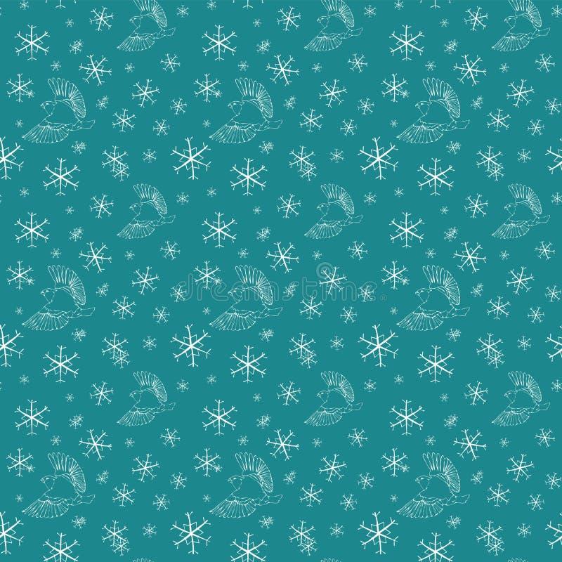 Modelo inconsútil de la Navidad del invierno con el piñonero del esquema y los copos de nieve blancos en un fondo azul libre illustration