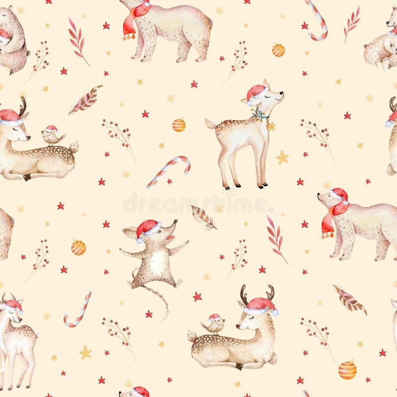 Modelo inconsútil de la Navidad del oso inconsútil del bebé Dé el backgraund exhausto del invierno con el oso, copos de nieve Ani libre illustration
