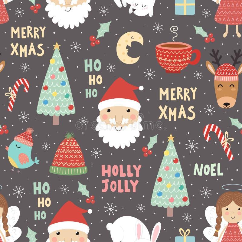 Modelo inconsútil de la Navidad divertida con Santa Claus stock de ilustración