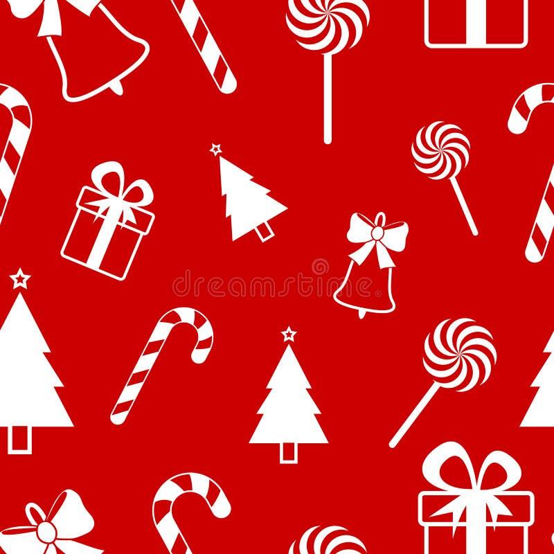 Modelo inconsútil de la Navidad en fondo rojo Diseño del vector del Año Nuevo stock de ilustración