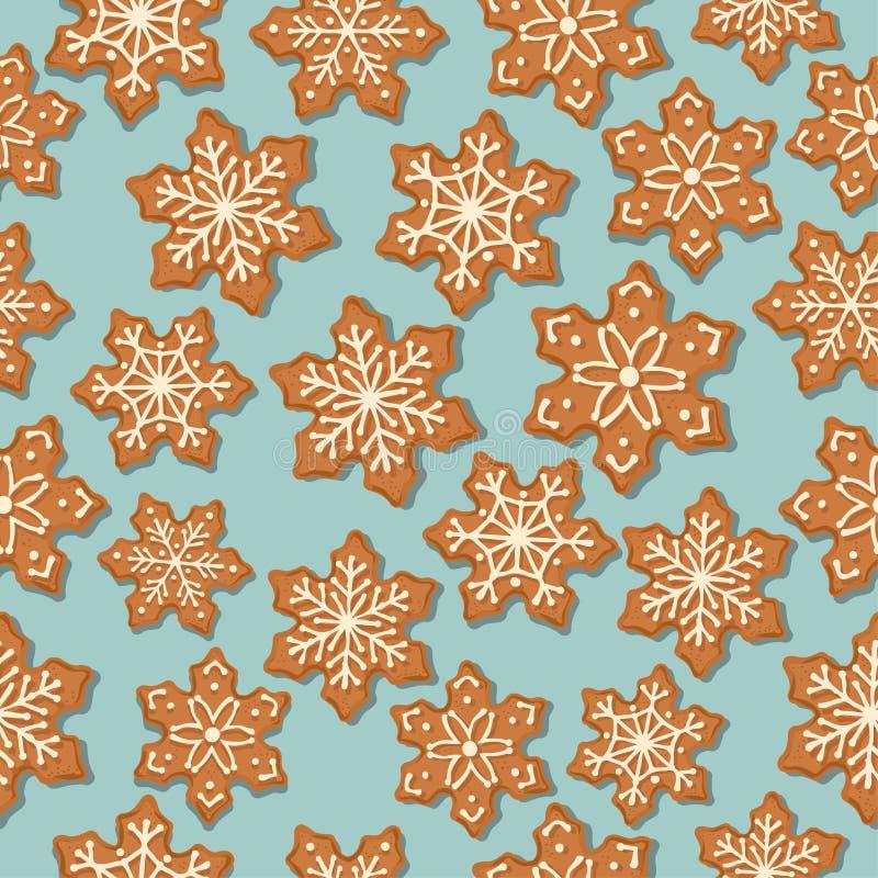 Modelo inconsútil de la Navidad festiva con las estrellas del pan de jengibre ilustración del vector