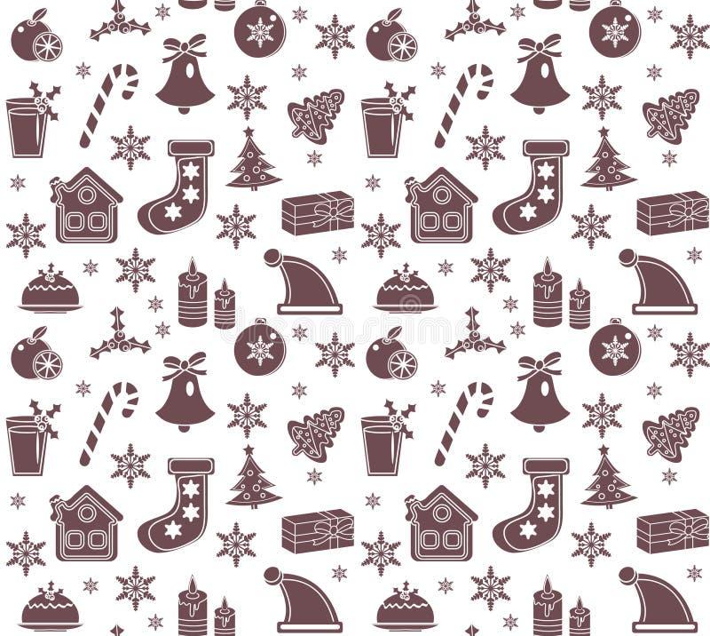 Modelo inconsútil de la Navidad Fondo sin fin del Año Nuevo, vacaciones de invierno que repiten la textura, papel pintado, tela V stock de ilustración