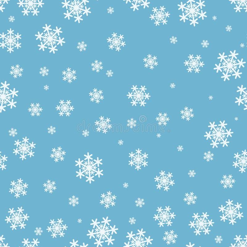 Modelo inconsútil de la Navidad de los copos de nieve en fondo azul stock de ilustración