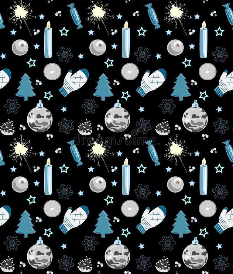 Modelo inconsútil de la Navidad, negro, blanco y azul, ejemplo del vector stock de ilustración