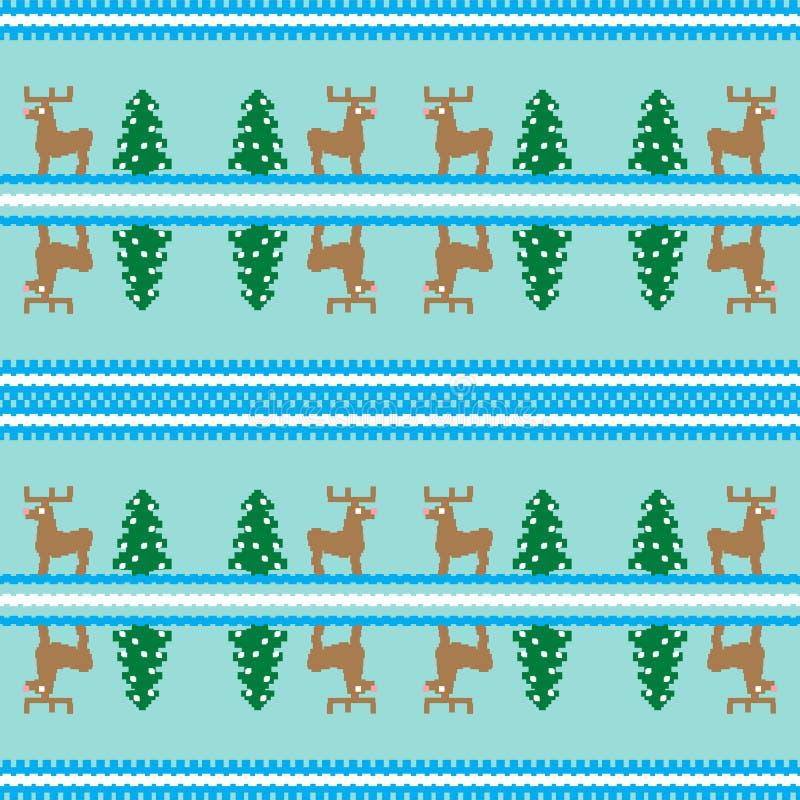 Modelo inconsútil de la Navidad, tarjeta Fondo lindo de la Navidad - árboles de Navidad, ciervos Dise?e para la materia textil, p stock de ilustración
