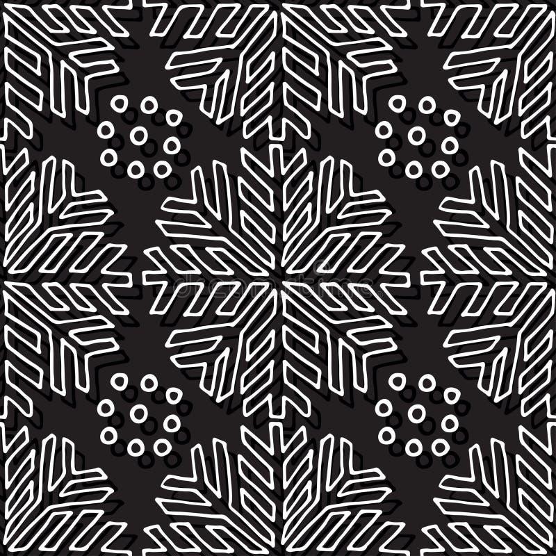 Modelo inconsútil de la Navidad Textura blanco y negro con los copos de nieve lineares Fondo sin fin abstracto Diseño del vector  libre illustration