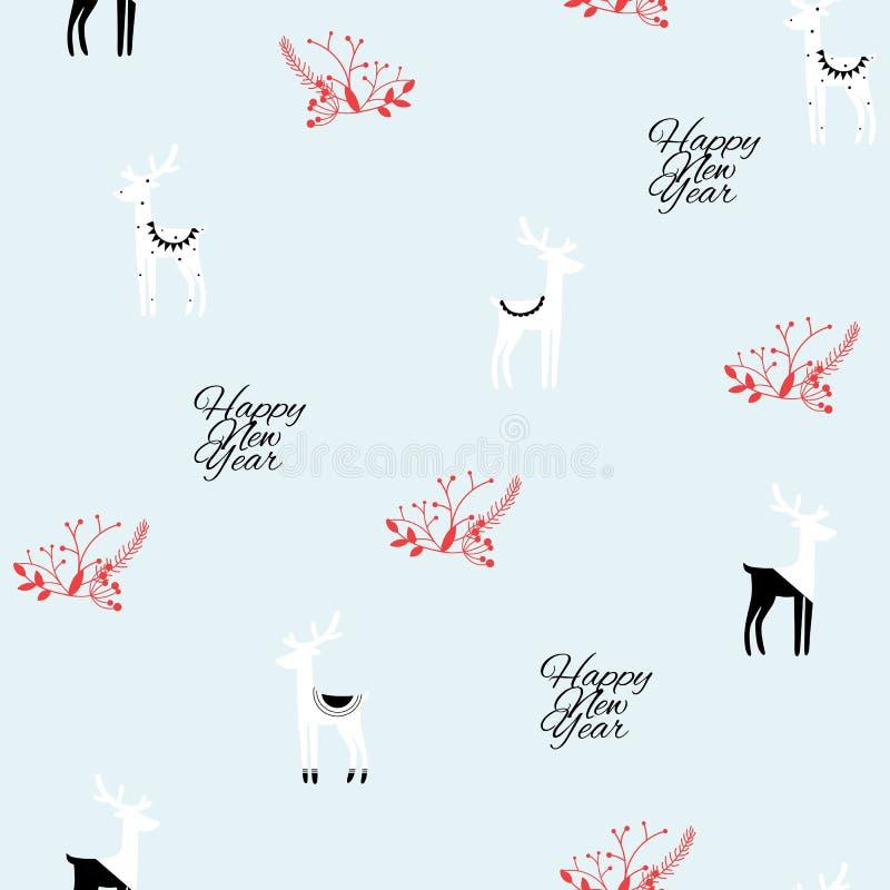 Modelo inconsútil de la Navidad y de la Feliz Año Nuevo de ciervos blancos negros en fondo azul claro stock de ilustración