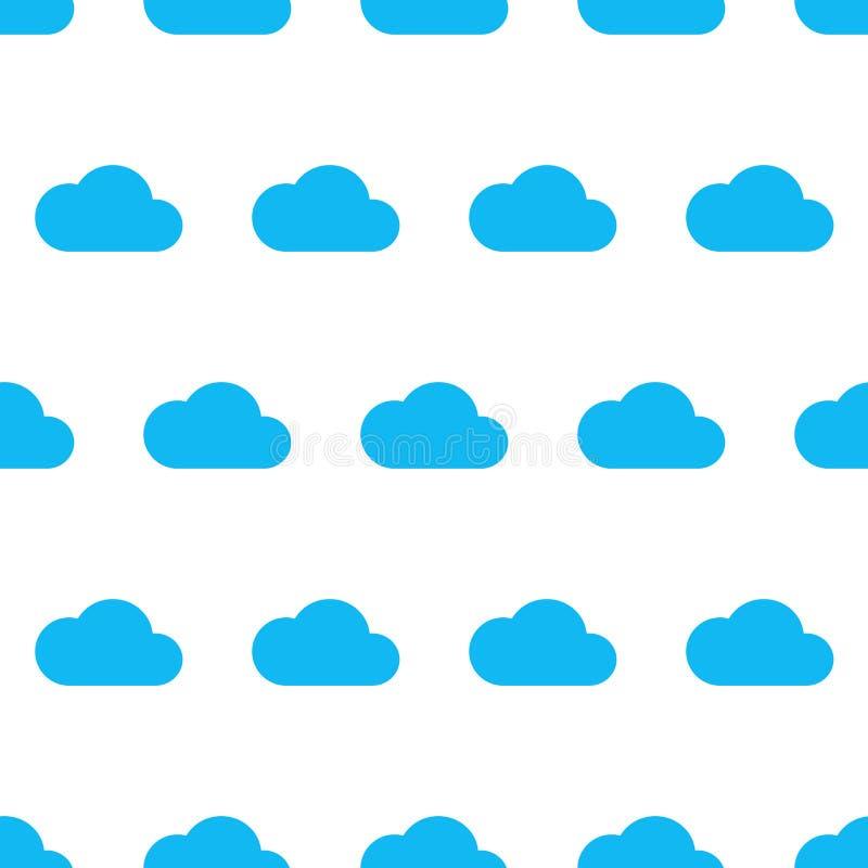 Modelo inconsútil de la nube azul en el fondo blanco del vector i stock de ilustración