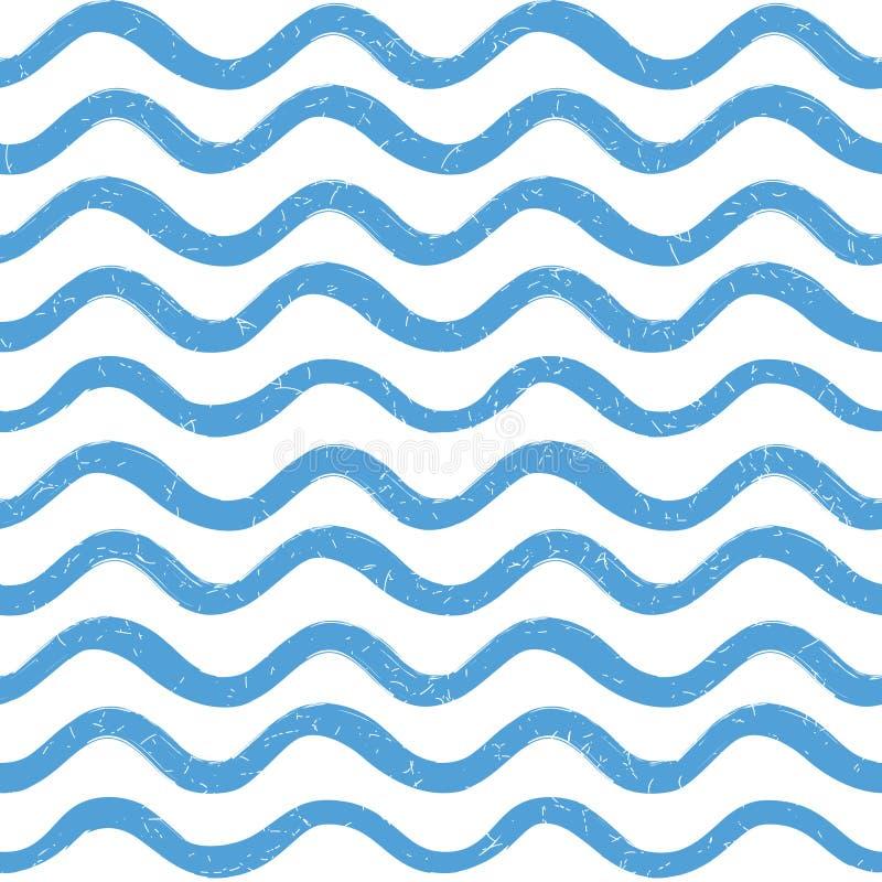 Modelo inconsútil de la ola oceánica abstracta Línea ondulada fondo de la raya imágenes de archivo libres de regalías