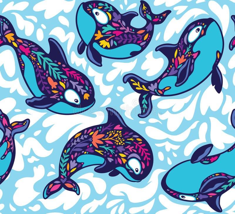 Modelo inconsútil de la orca de la orca en estilo floral Ilustraci?n decorativa del vector stock de ilustración