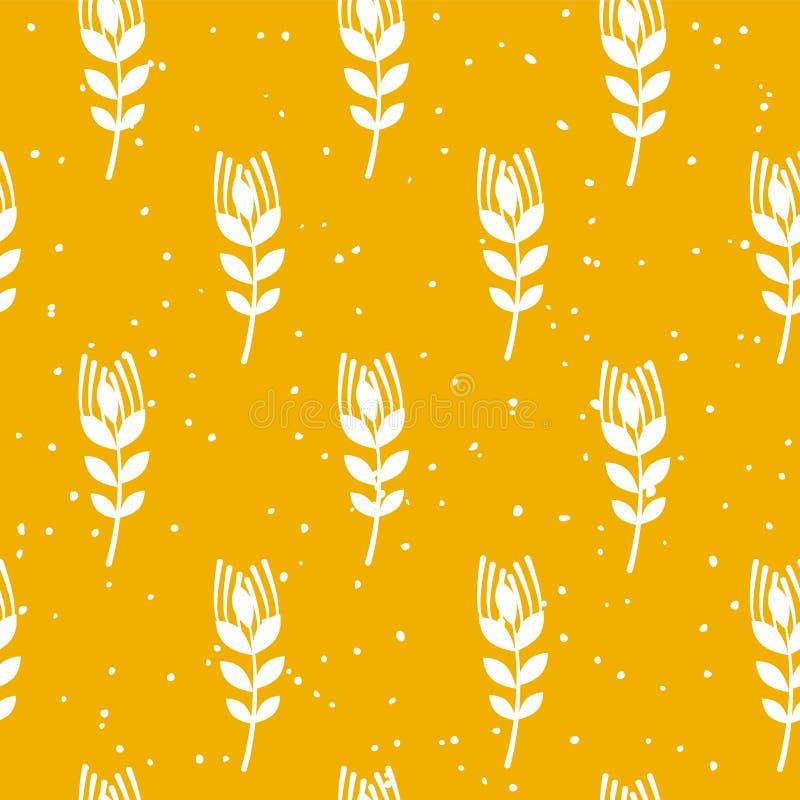 Modelo inconsútil de la panadería con trigo en fondo amarillo Ornamento para la materia textil y envolver Vector ilustración del vector