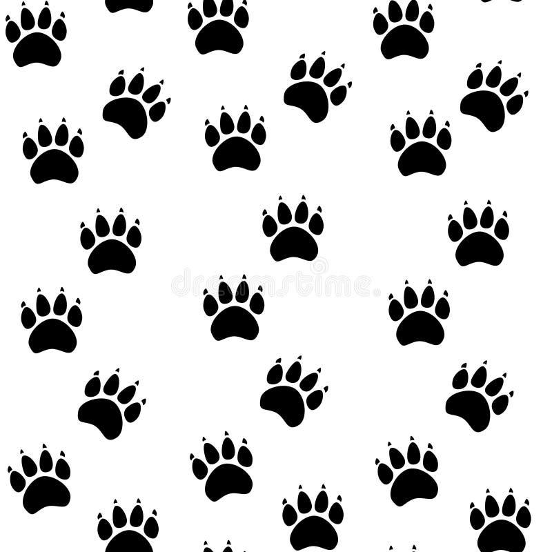 Modelo inconsútil de la pata del gato o del perro - vector la textura animal de la huella Ilustración del vector ilustración del vector