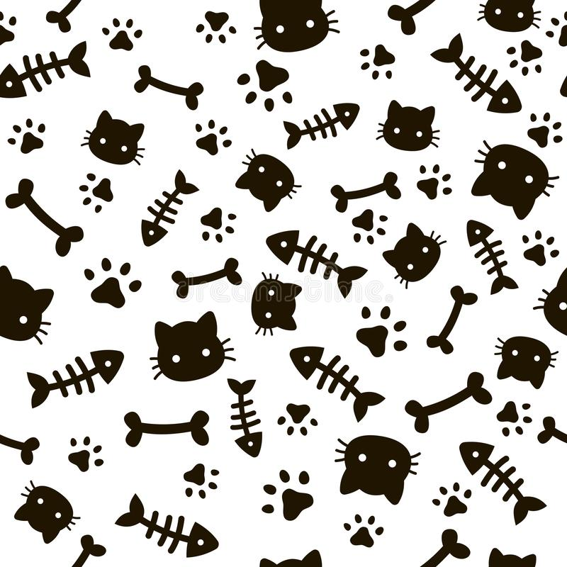 Modelo inconsútil de la pata Huellas animales y huesos Papel pintado de las patas del perro del gato, fondo lindo del vector de l stock de ilustración
