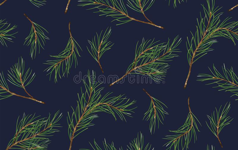 Modelo inconsútil de la picea de la Navidad del pino, árbol del Año Nuevo natural stock de ilustración