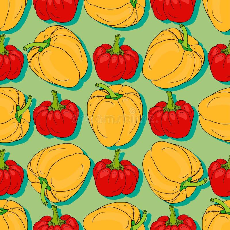 Modelo inconsútil de la pimienta roja y amarilla Papel de embalaje de Vegetanbles Impresión de la materia textil, decoración inte stock de ilustración