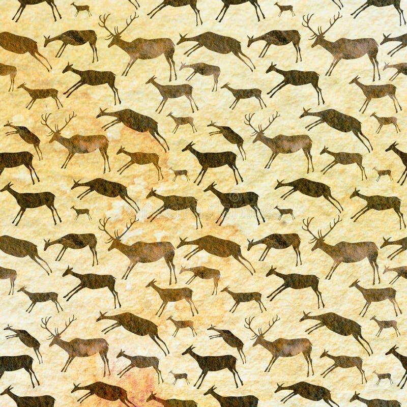 Modelo inconsútil de la pintura de cuevas Animales con textura de la acuarela ilustración del vector