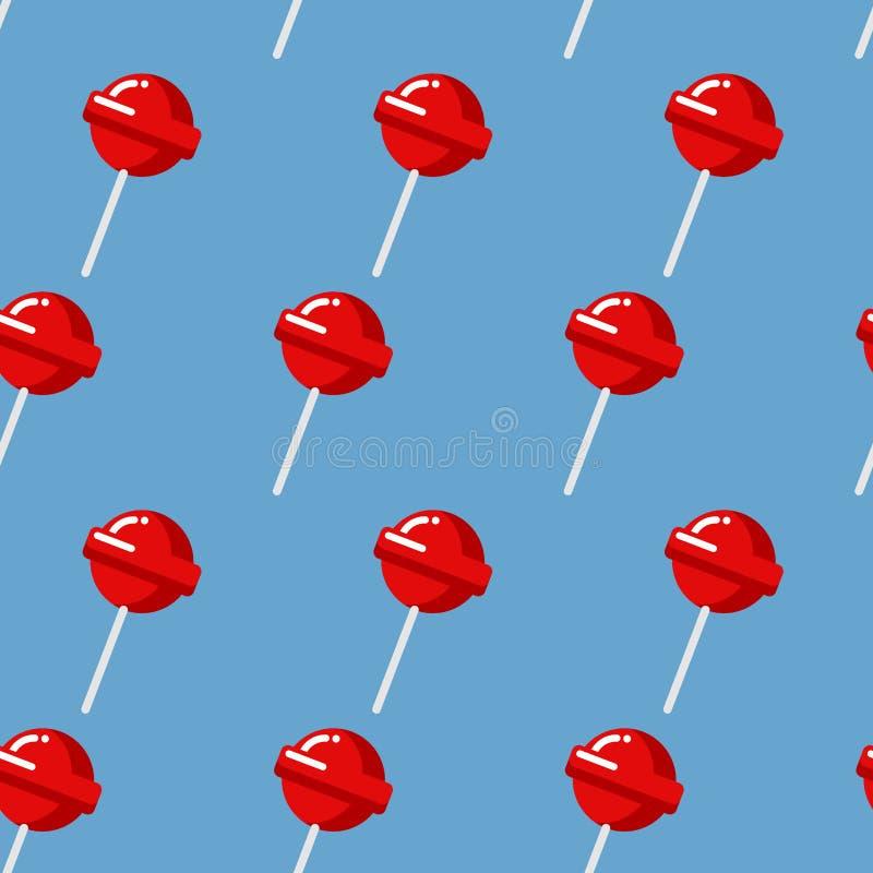 Modelo inconsútil de la piruleta Textura dulce roja del caramelo Fresa s stock de ilustración