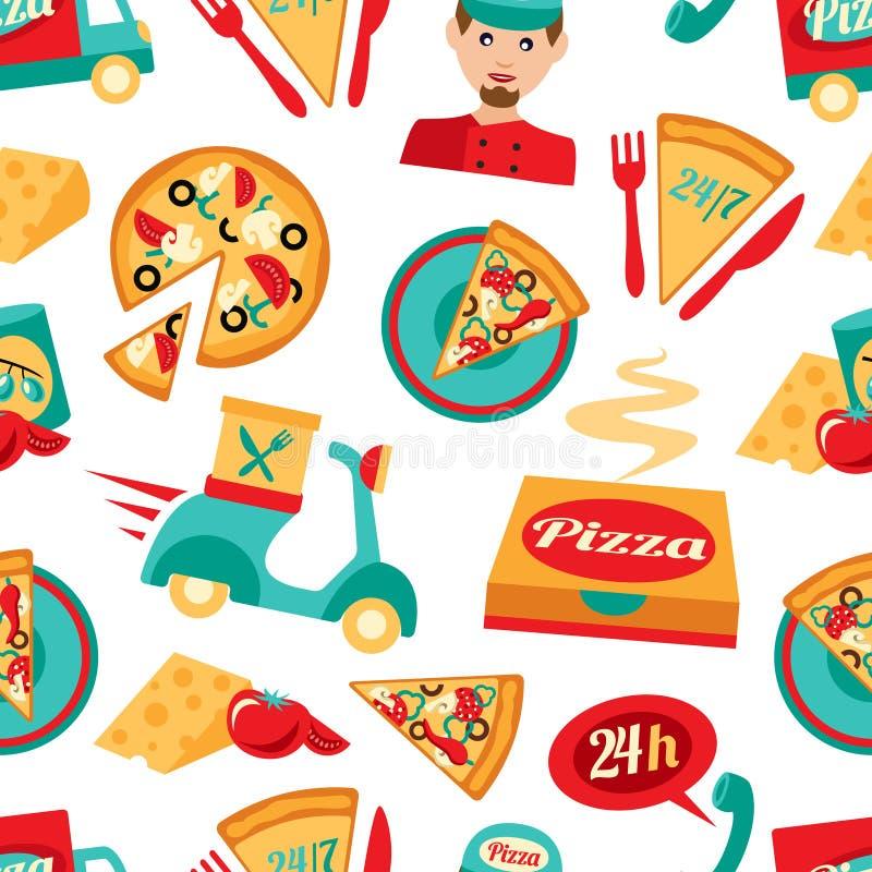 Modelo inconsútil de la pizza ilustración del vector