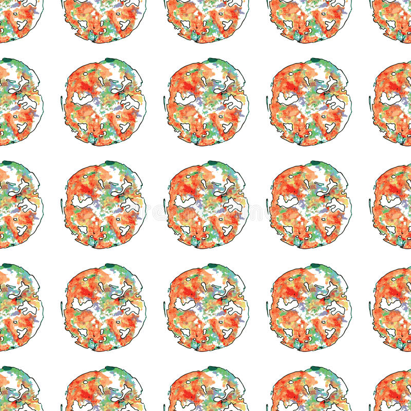 Modelo inconsútil de la pizza abstracta Ilustración del vector del fondo stock de ilustración