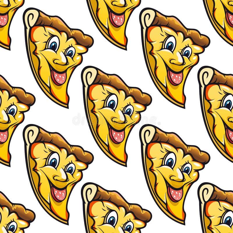 Modelo inconsútil de la pizza caseosa de la historieta del salami ilustración del vector