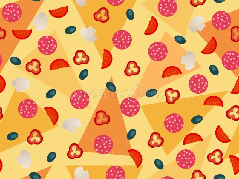 Modelo inconsútil de la pizza, ingredientes de las verduras Cocina italiana libre illustration
