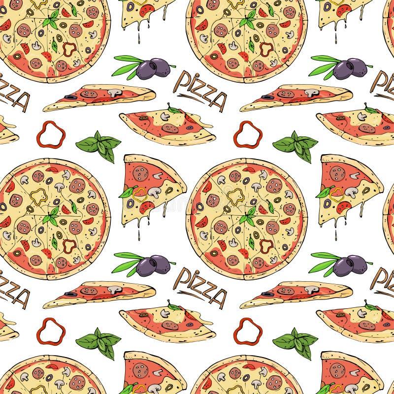 Modelo inconsútil de la pizza y de los ingredientes en el fondo blanco ilustración del vector