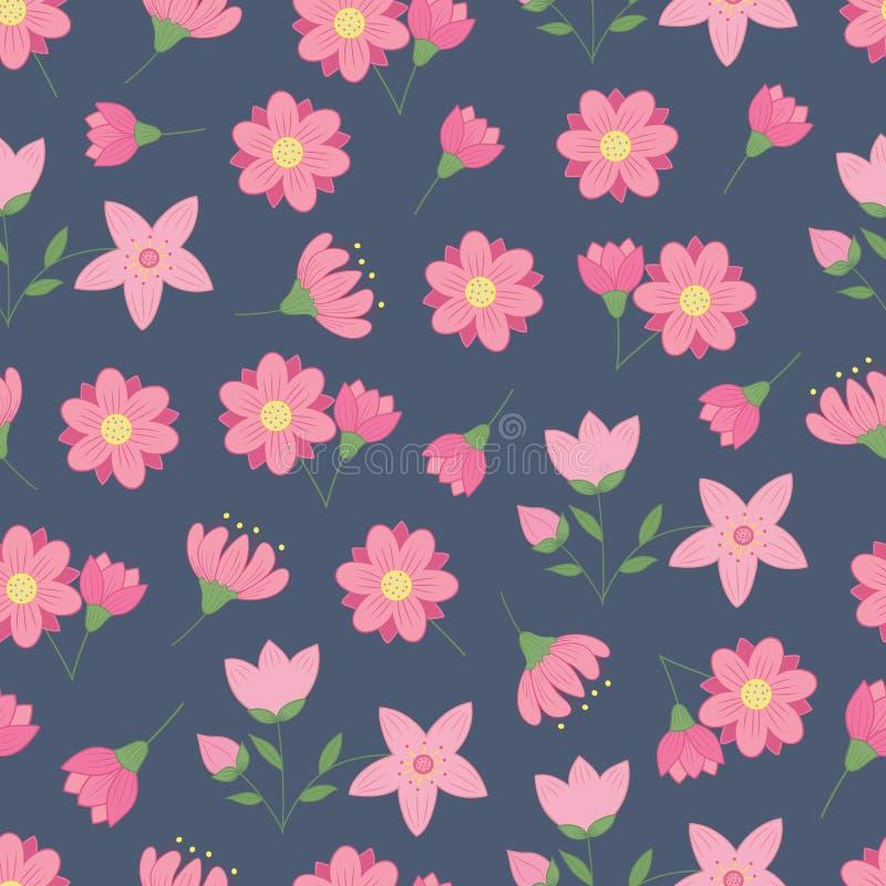 Modelo inconsútil de la primavera con las flores rosadas stock de ilustración