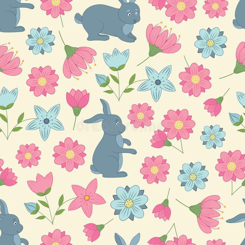 Modelo inconsútil de la primavera con las flores y los conejos ilustración del vector