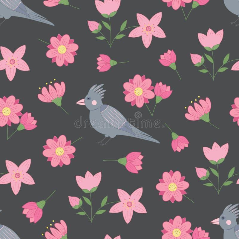 Modelo inconsútil de la primavera con las flores y los pájaros ilustración del vector