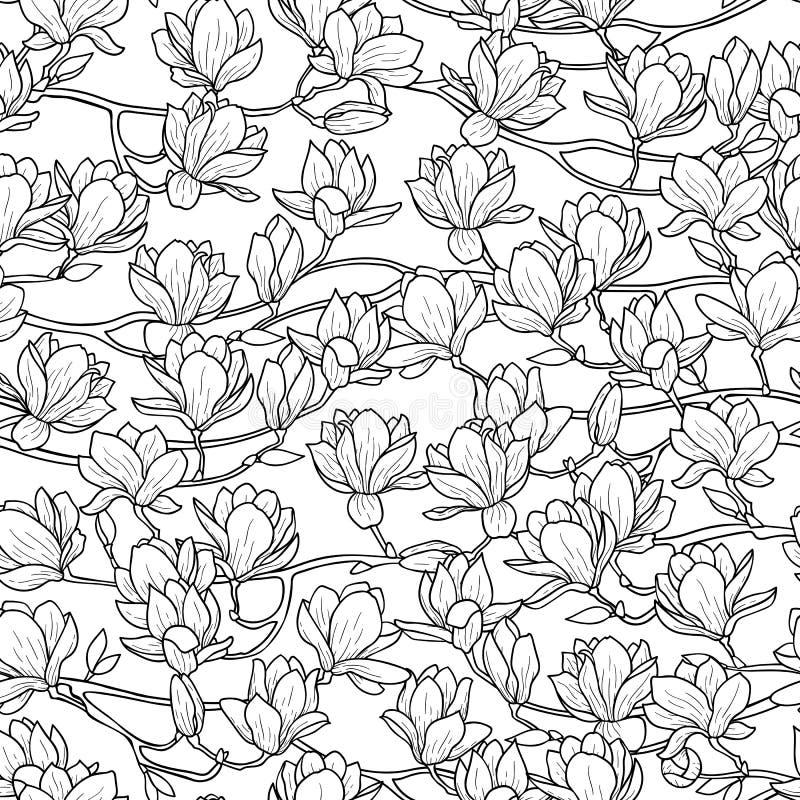 Modelo inconsútil de la primavera de la magnolia stock de ilustración